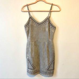 Grey suede mini dress